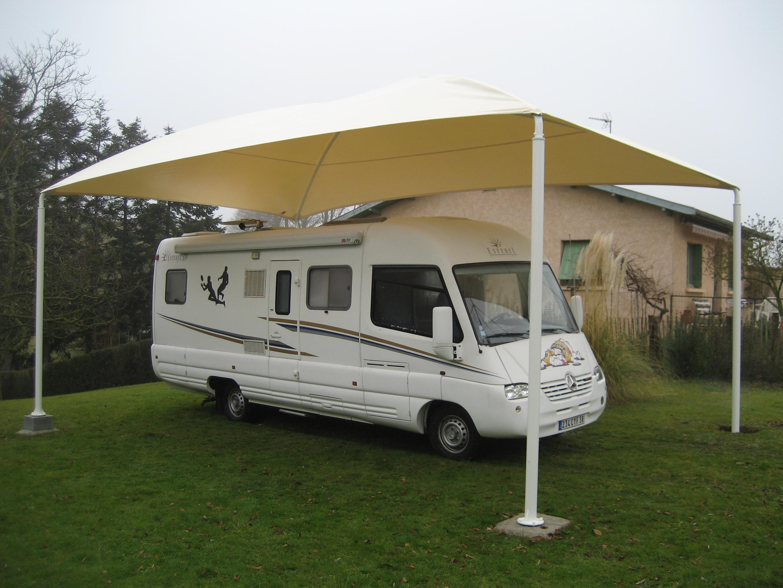 Abri camping car ouvert cf / structure en acier / toiture arrondie