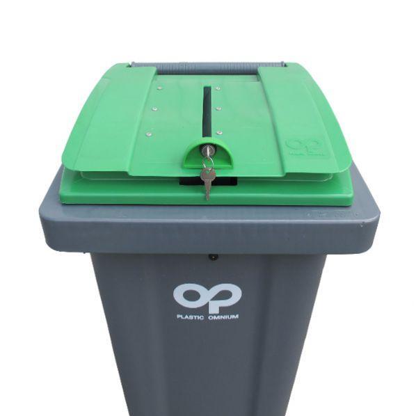 Conteneur poubelle pour papiers confidentiels - 140 litres vert