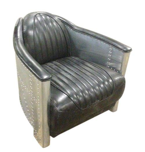 fauteuil industrie club cuir vintage noir. Black Bedroom Furniture Sets. Home Design Ideas