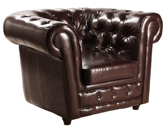 fauteuil chesterfield deluxe en cuir marron capitonne. Black Bedroom Furniture Sets. Home Design Ideas