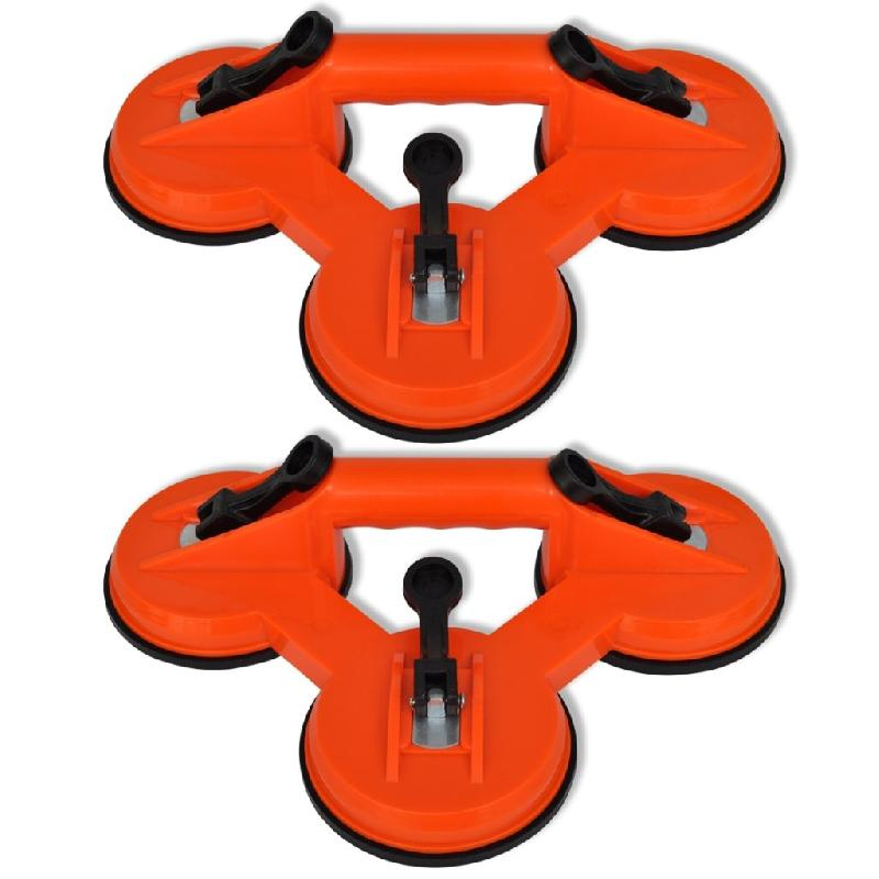 Lot de 2 ventouses triples 120 mm pare brise verre outils garage atelier bricolage 3402024