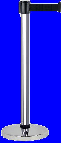 Poteau alu chromé à sangle Noir 3m x 50mm - 2010429