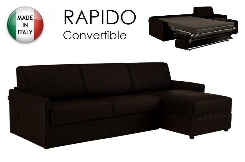 canape d 39 angle sun convertible ouverture rapido 120cm cuir vachette marron. Black Bedroom Furniture Sets. Home Design Ideas