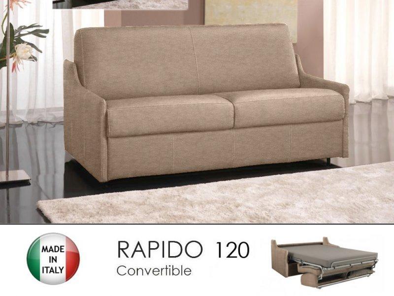 canape lit 2 3 places luna convertible ouverture rapido 120cm microfibre ecru. Black Bedroom Furniture Sets. Home Design Ideas