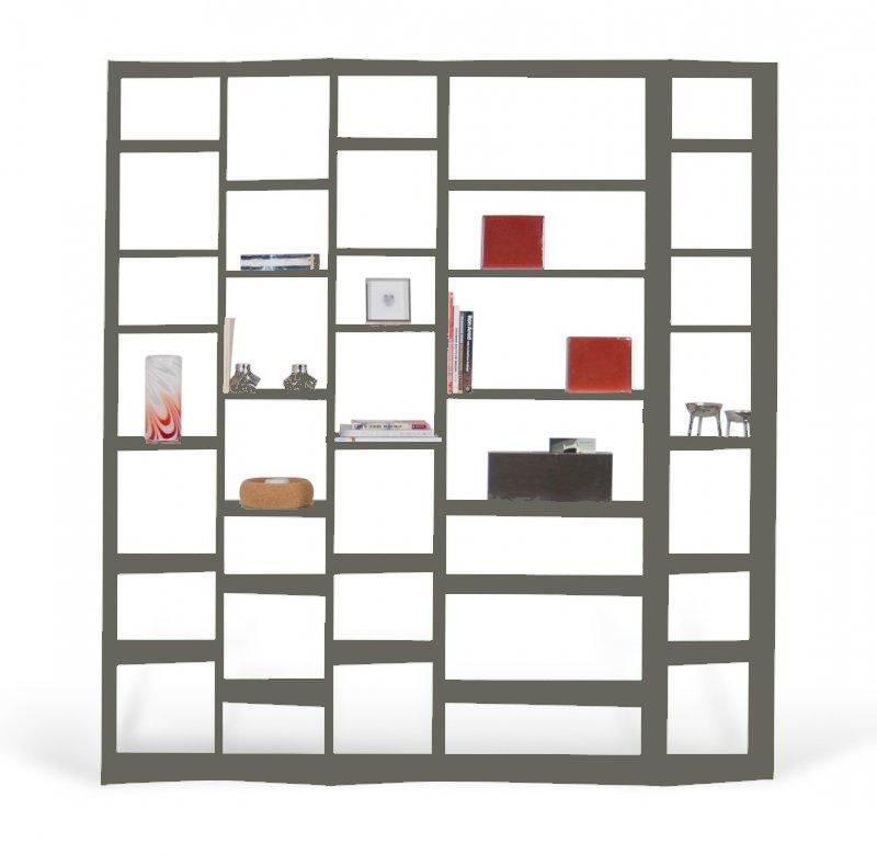 temahome valsa 5 bibliotheque etagere design grise mate. Black Bedroom Furniture Sets. Home Design Ideas