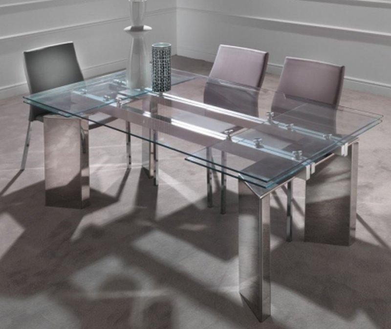 Table repas extensible en verre king pietement en acier chrome - Table extensible rallonges integrees ...