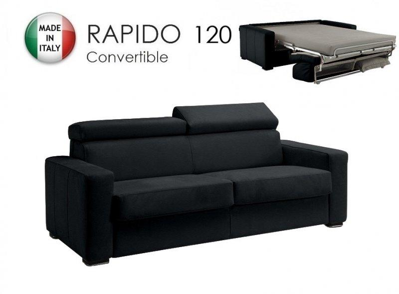 canape rapido sidney deluxe cuir vachette noir matelas 14cm couchage quotidien 120cm. Black Bedroom Furniture Sets. Home Design Ideas
