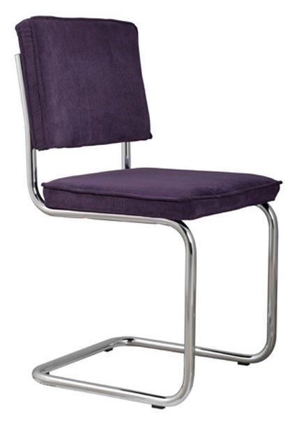 Chaise zuiver ridge rib tissu coloris violet avec cadre brosse for Chaise zuiver