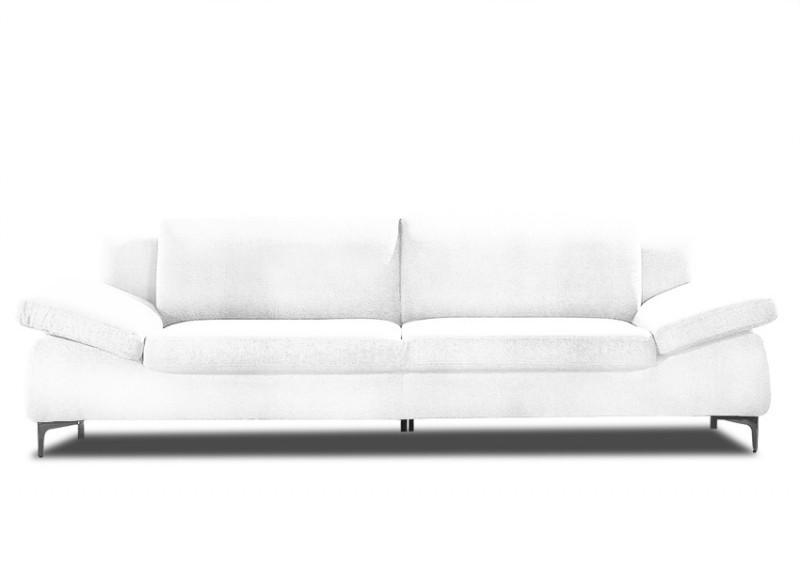 Canap contemporain ares cuir 3p blanc for Canape blanc contemporain