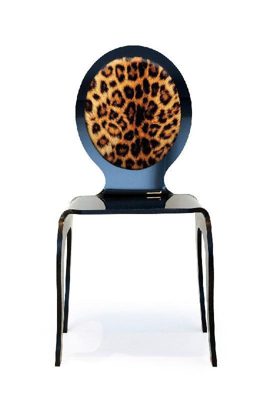 chaise plexi opera avec motif leopard par acrila. Black Bedroom Furniture Sets. Home Design Ideas