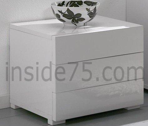 Chevet design high gloss 3 tiroirs blanc brillant - Table de chevet laque blanc brillant ...
