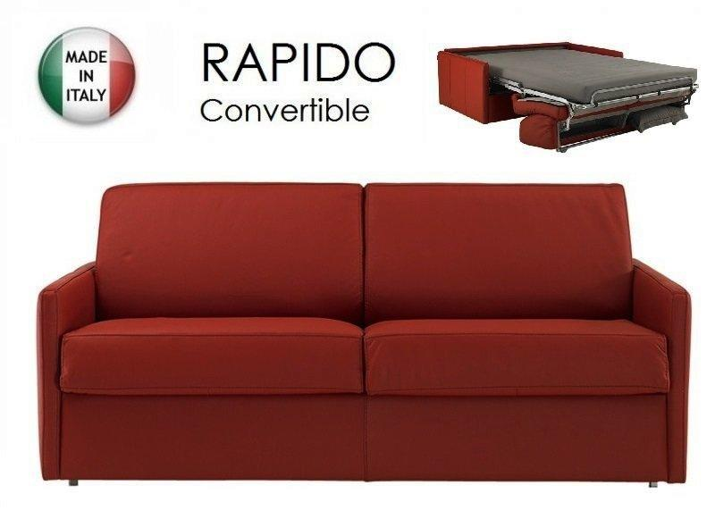 Promo canap lit 2 3 places rapido sun cuir compact for Canape convertible rapido conforama