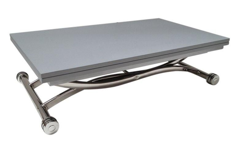 Table basse high and low grise mat relevable extensible - Charniere table basse relevable ...