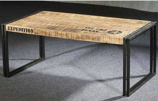 Table basse longue style industriel - Table de salon industriel ...