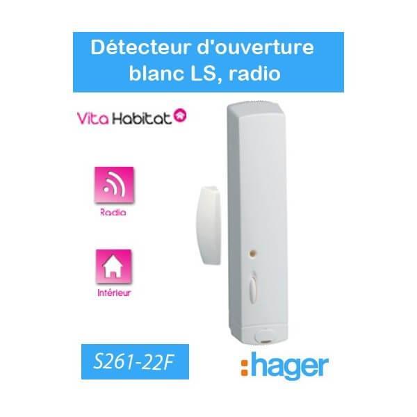 DÉTECTEUR D'OUVERTURE - S261-22F - BLANC - LOGISTY HAGER - PILE LITHIUM FOURNIE