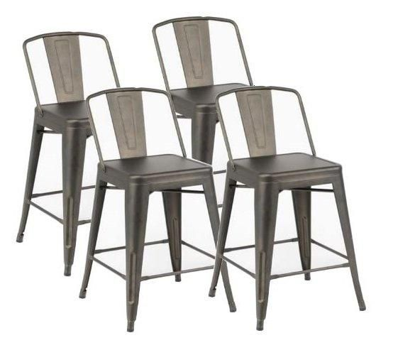 lot de 4 chaises de bar bilou en acier gris antique comparer les prix de lot de 4 chaises de bar. Black Bedroom Furniture Sets. Home Design Ideas