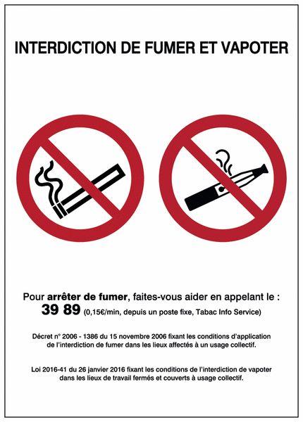 AFFICHAGE RÉGLEMENTAIRE INTERDICTION DE FUMER / VAPOTER