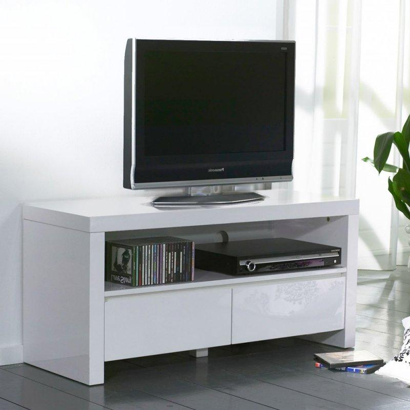 White meuble tv avec 2 tiroirs laque blanc brillant for Meuble tv 110 cm fly