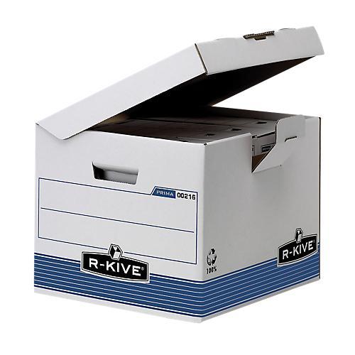 BOÎTES ARCHIVES FELLOWES R-KIVE PRIMA BLANC  BLEU 37 7 X 39 5 X 31 CM 10 UNITÉS