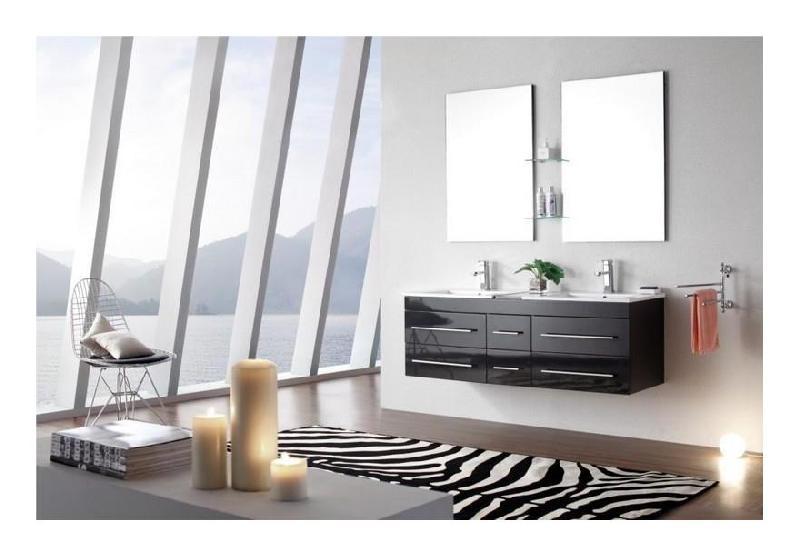 meuble salle de bain double vasque 140 cm sam gris espace insell - Meuble Salle De Bain Double Vasque 140 Cm