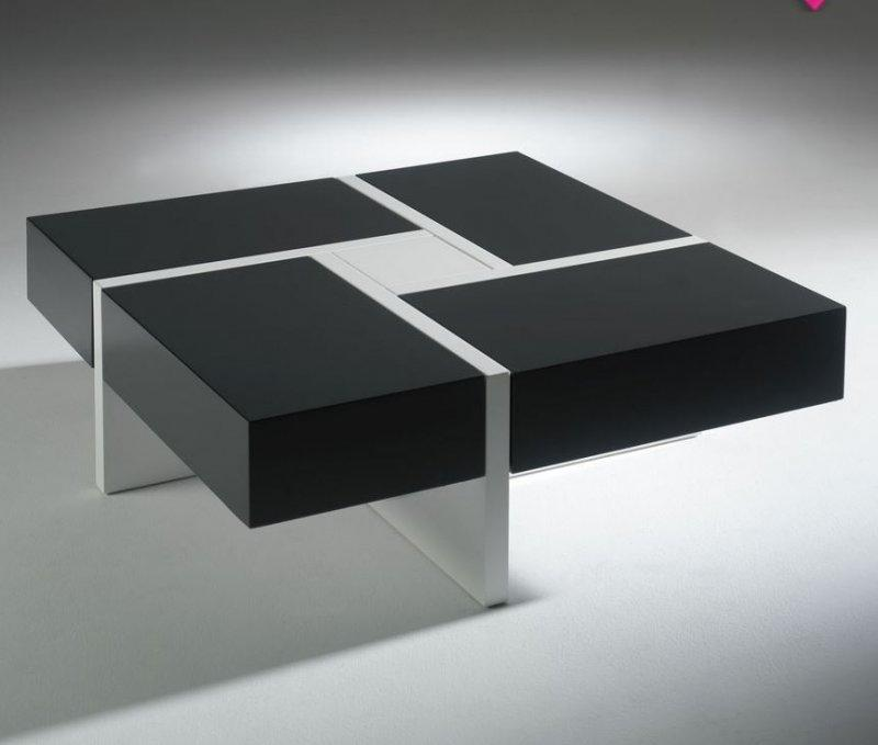 Table Basse Design Molly Gris Anthracite Et Blanche Avec 4 Tiroirs