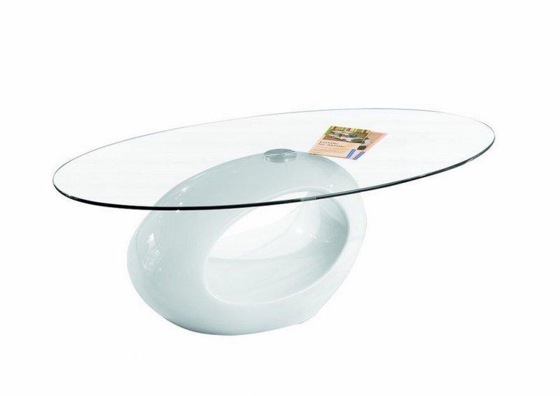table basse ovale nigra en verre et pietement blanche. Black Bedroom Furniture Sets. Home Design Ideas