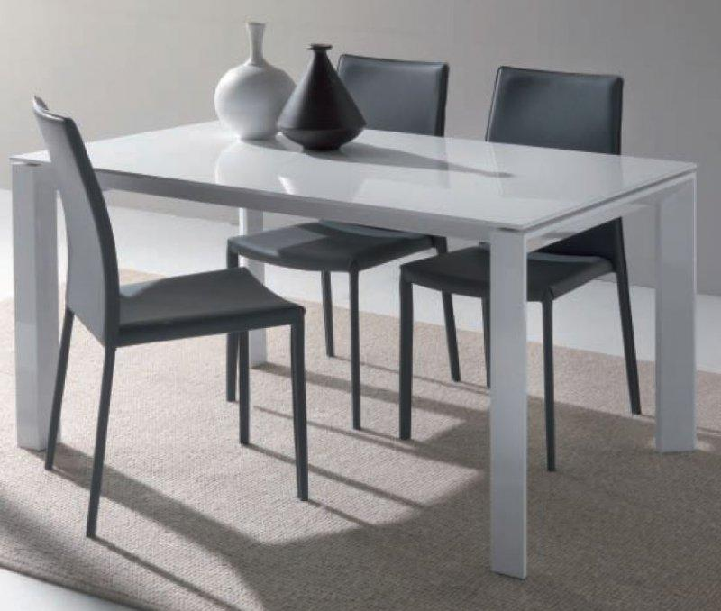 Table repas extensible sliver en verre blanc 140 x 90 cm for Table carree extensible blanc laque