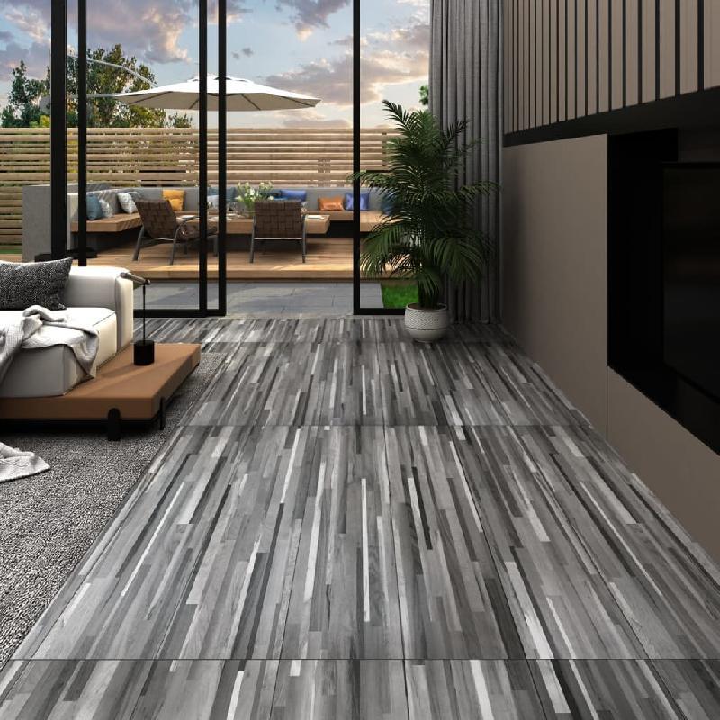 Vidaxl planches de plancher pvc 5,26 m² 2 mm gris rayé