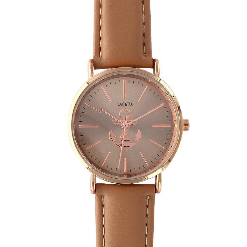 Montre lutetia marron boîtier métal cadran doré rose avec ancre et bracelet cuir de bovin