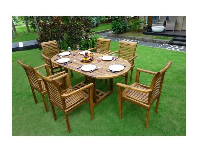 Salon en teck de jardin pour 6 personnes table 180 cm et fauteuils wood en stock comparer - Salon de jardin teck 6 places ...