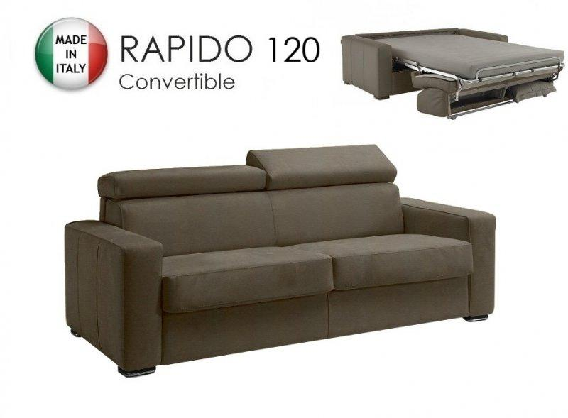 Canape systeme rapido sidney cuir eco taupe matelas 14cm couchage quotidien - Canape systeme rapido ...