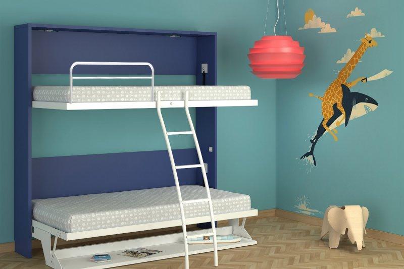 armoire lit transversale poseidon bleue et blanche munie de son bureau couchage 90 22 200 cm. Black Bedroom Furniture Sets. Home Design Ideas