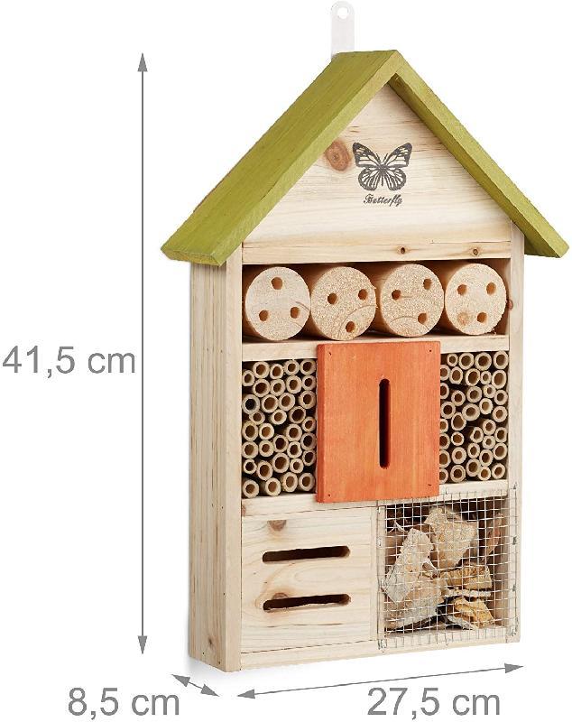 Hôtel à insectes papillon coccinelle abeille jardin balcon à suspendre vert 13_0001309_2