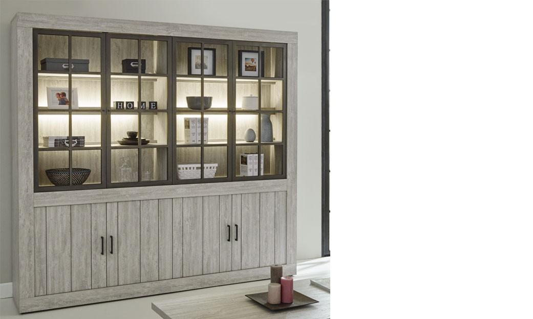 Meuble bibliothèque contemporaine couleur bois clair fergus