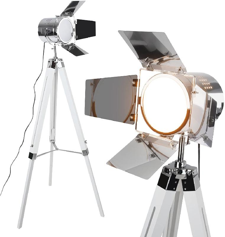 Lampadaire trépied type projecteur de cinéma hauteur réglable bois et métal led rétro lampe sur pied pour salon blanc mat 01_00000401