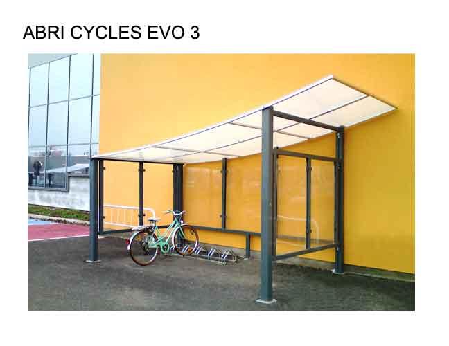 Abri vélo semi-ouvert evo 3 / structure en aluminium / bardage en verre trempé et securit / pour 5 vélos