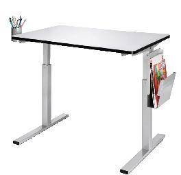 table ergotable 2 plateau fixe 120x60 cm hauteur r glable 56 90 cm comparer les prix de. Black Bedroom Furniture Sets. Home Design Ideas