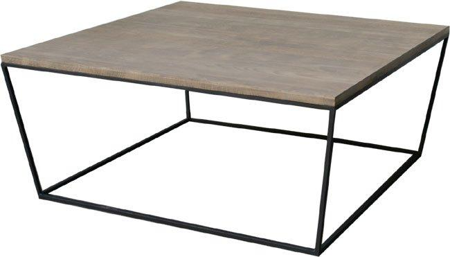 industry table basse en acier et chene gris 90x90 cm fabrication industrielle. Black Bedroom Furniture Sets. Home Design Ideas
