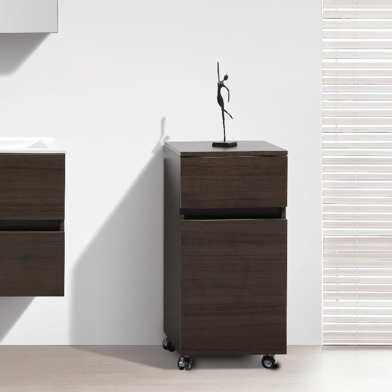 meuble de rangement sur roulettes siena hauteur 84 cm ch ne marron comparer les prix de meuble. Black Bedroom Furniture Sets. Home Design Ideas