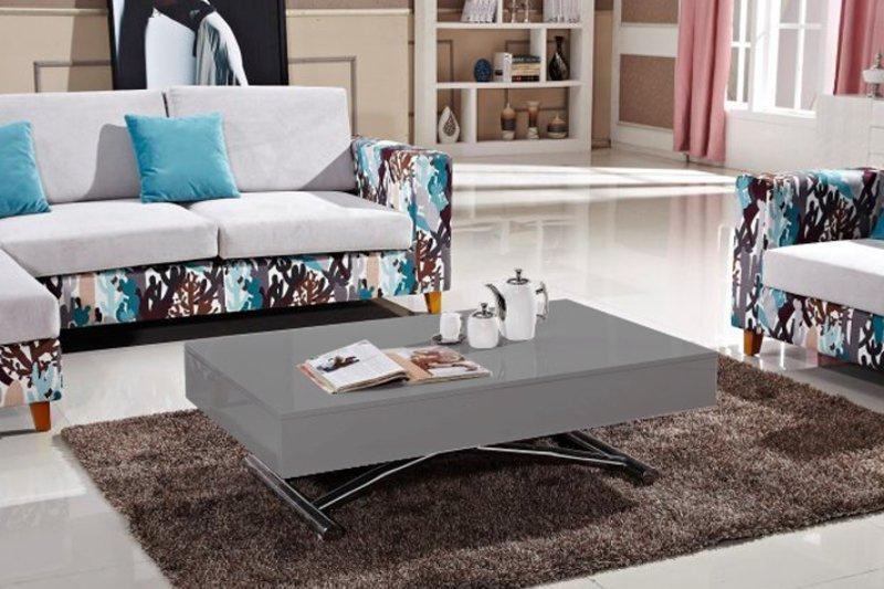 table basse relevable cube gris brillant extensible 12 couverts. Black Bedroom Furniture Sets. Home Design Ideas