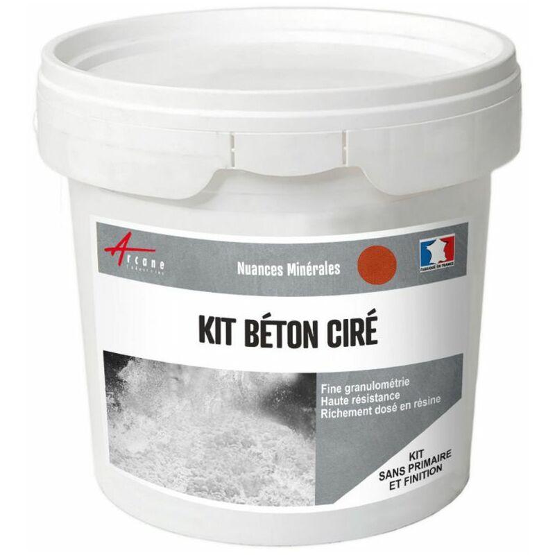 BÉTON CIRÉ : KIT ENDUIT + RÉSINE + COLORANT - 40 COULEURS GOYAVE - ROUGE - KIT 5 M2 (2 COUCHES) - ARCANE INDUSTRIES