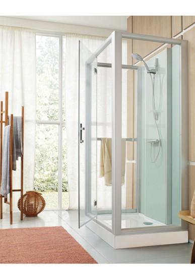 cabine de douche rectangle 100x80 milieu de mur porte pivotante confort gris vt. Black Bedroom Furniture Sets. Home Design Ideas