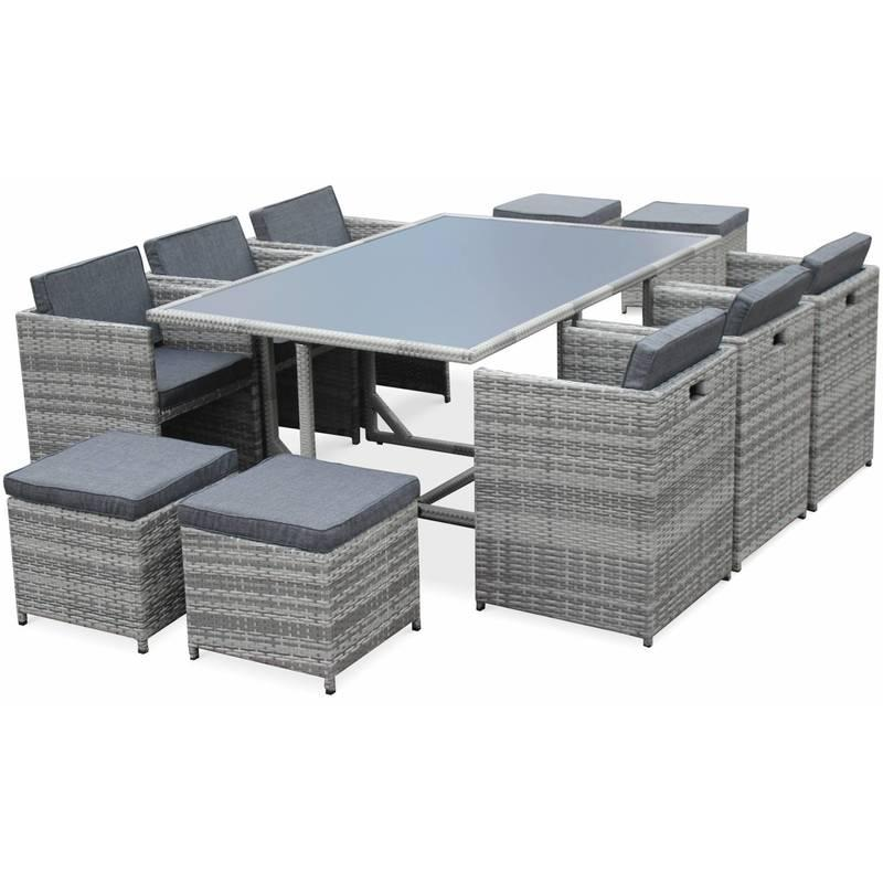 Salon de jardin vasto nuances de gris table en r sine - Salon de jardin resine tressee taupe bora bora hesperide ...