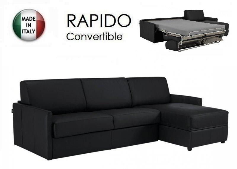 Canape d 39 angle sun convertible ouverture rapido 140cm cuir vachette noir - Canape angle convertible rapido ...