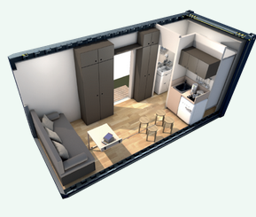 Container amenage sejour convertible en chambre for Plan amenagement container habitable