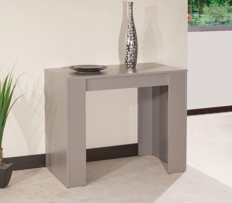 Console elasto taupe mat extensible en table repas 10 - Console extensible taupe ...