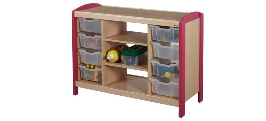 rangements casiers 2 colonnes avec etageres rangements mobilier petite enfance. Black Bedroom Furniture Sets. Home Design Ideas