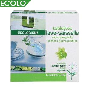 u ecologique tablettes lave vaisselle ecolabel hydrosolubles x 32. Black Bedroom Furniture Sets. Home Design Ideas