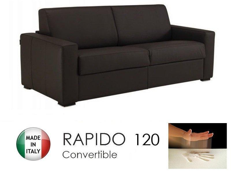 canape convertible rapido 120cm dreamer cuir vachette marron matelas 120 14 190 cm a memoire de. Black Bedroom Furniture Sets. Home Design Ideas