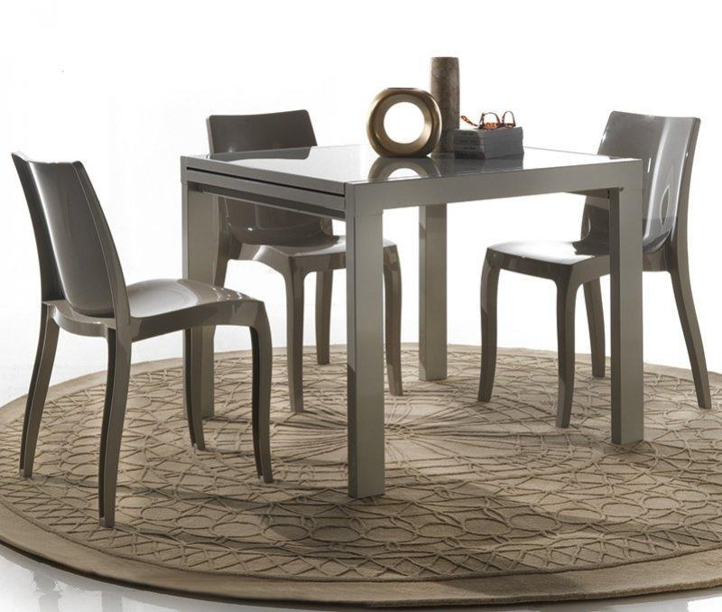 table repas extensible space en verre design taupe 90 cm comparer les prix de table repas. Black Bedroom Furniture Sets. Home Design Ideas